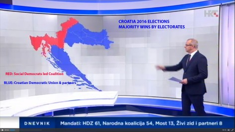 Map of Croatia With Election 2016 Results by majority seats per electorate Photo: Screenshot HRT news 12.09.2016